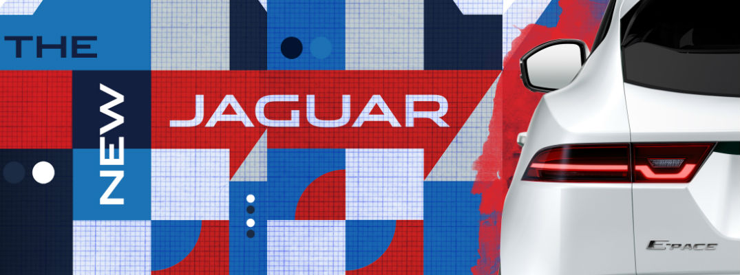White Jaguar E-PACE Badge with Red, White and Blue Background