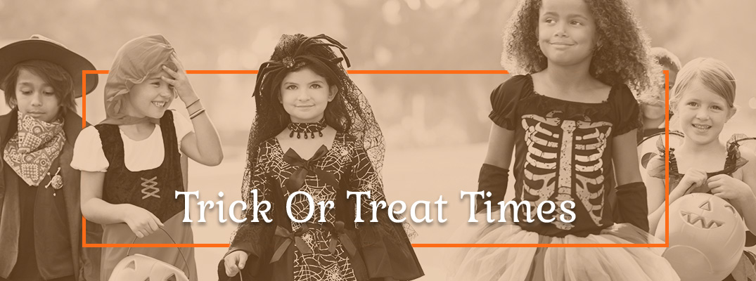 Kids in Halloween Costumes Trick or Treating
