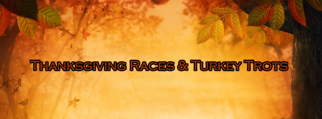 Fall Foliage and Trees on Yellow/Orange Background with Thanksgiving Races and Turkey Trots Text