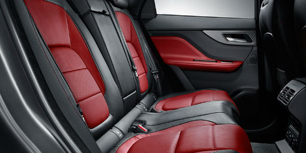 Red and Black 2018 Jaguar F-PACE Rear Seats
