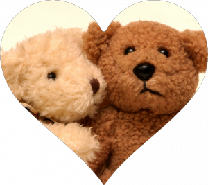 Tan and Brown Bears Hugging in Heart Cutout
