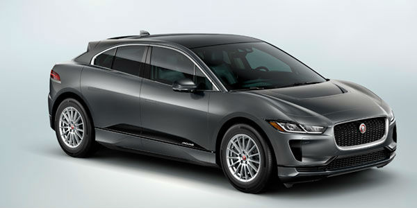 Gray 2019 Jaguar I-PACE S Front and Side Exterior on Light Blue Background