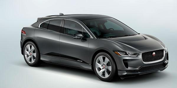 Gray 2019 Jaguar I-PACE SE Front and Side Exterior on Light Blue Background