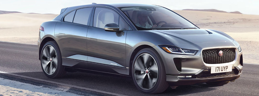 Gray 2019 Jaguar I-PACE Driving on Desert Highway