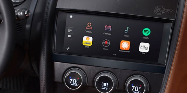 Black Screen in Car Dashboard with Eight Application Icons.