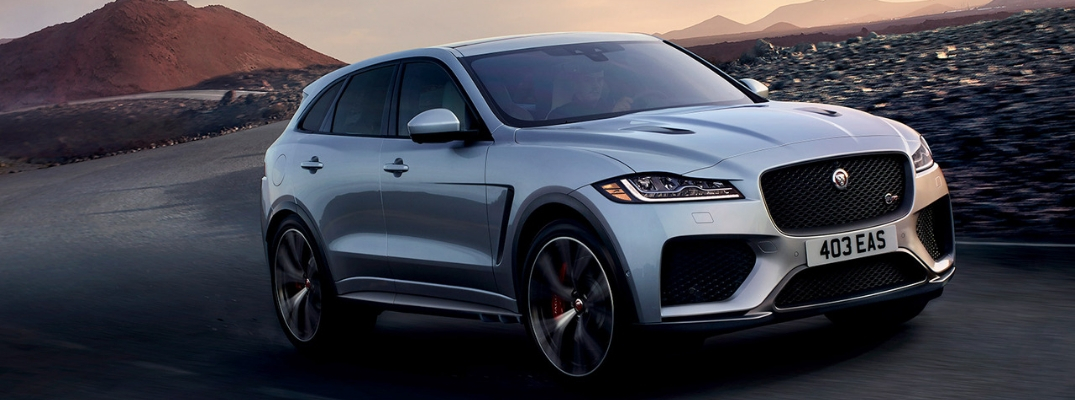 Silver 2019 Jaguar F-PACE on a Desert Highway