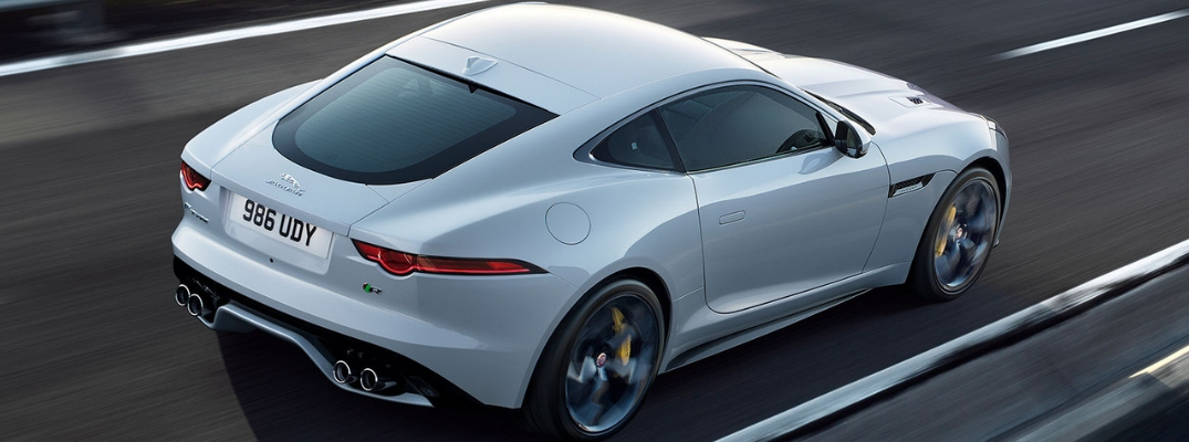 White 2019 Jaguar F-TYPE Rear Exterior on a Freeway