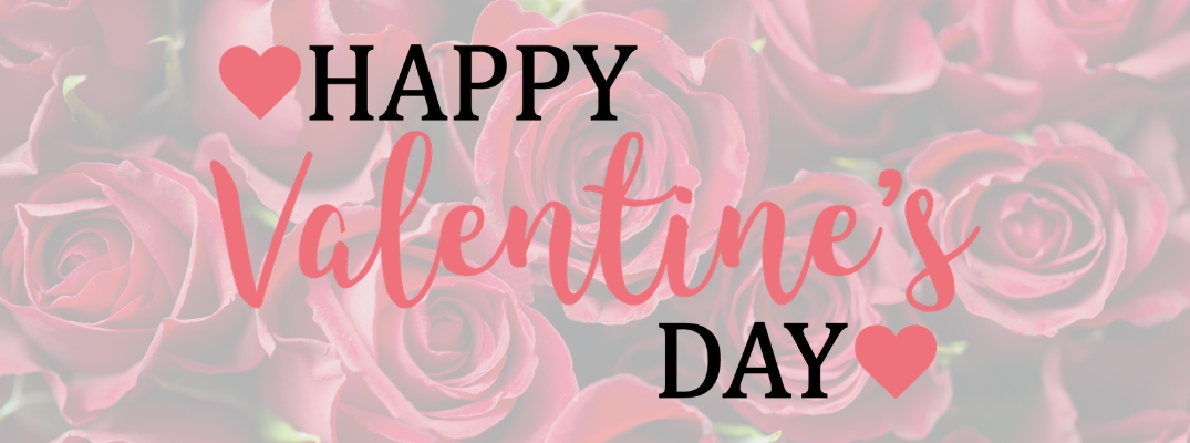 Background of Roses with Black and Pink Happy Valentine's Day Text with Pink Hearts