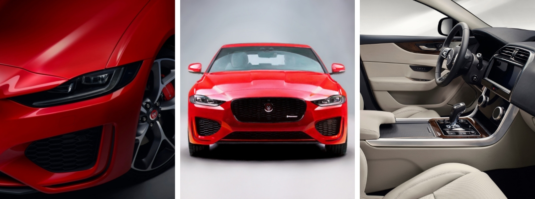 Red 2020 Jaguar XE Headlights, Red 2020 Jaguar XE Front Exterior on White Background and 2020 Jaguar XE Front Seat Interior