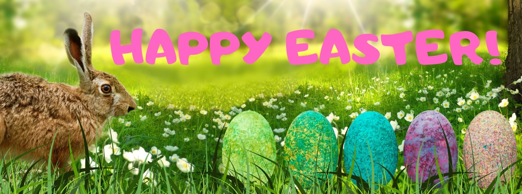 Brown Bunny and Colorful Easter Eggs in Grass with Pink Happy Easter! Text
