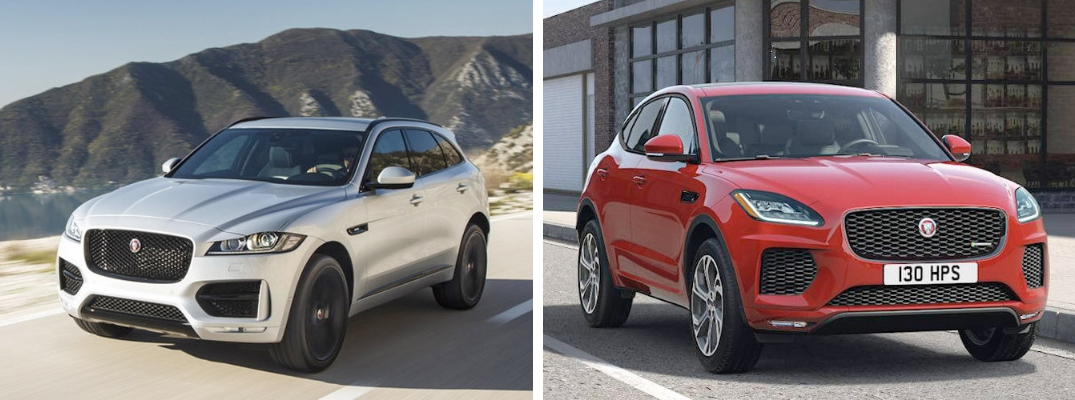 Silver 2019 Jaguar F-PACE on a Coast Road vs Red 2019 Jaguar E-PACE on a City Street