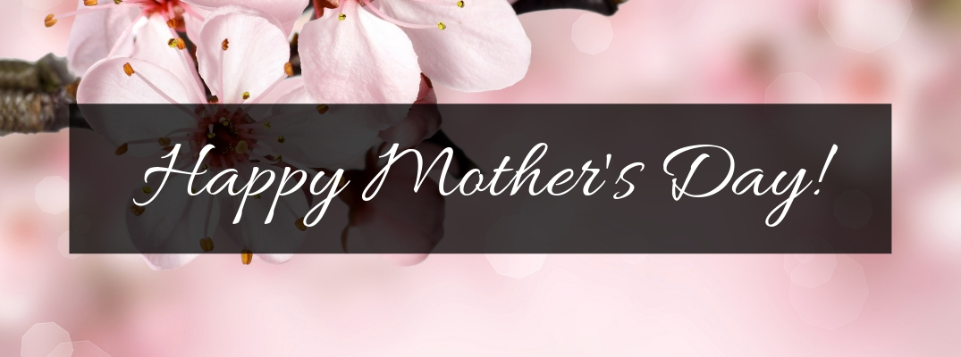 Close Up of Pink Flowers on Pink Background with Black Rectangle and White Happy Mother's Day Text
