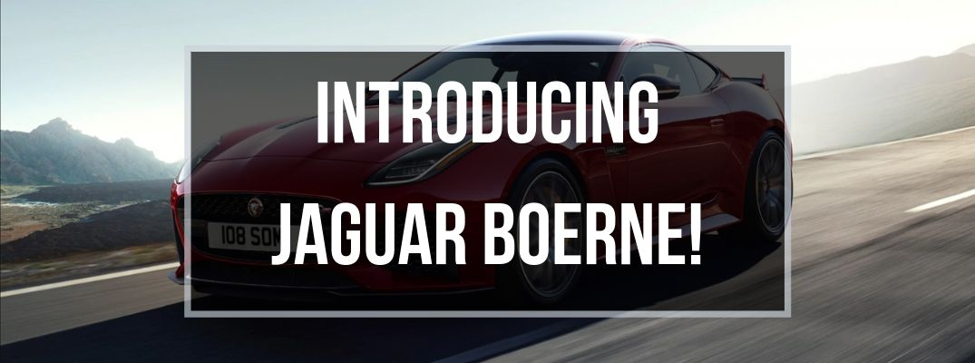 Red 2020 Jaguar F-TYPE on a Highway with Black Framed Text Box and White Introducing Jaguar Boerne! Text