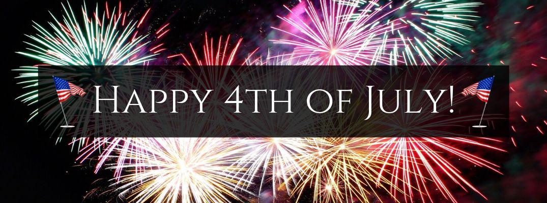 Fireworks in the Sky, a Black Text Box with White Happy 4th of July! Text and Two American Flag Graphics