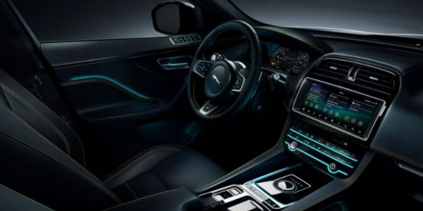 Black and Yellow 2020 Jaguar F-PACE 300 Sport Front Interior