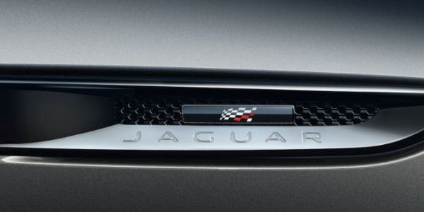Close Up of the 2020 Jaguar F-PACE Checkered Flag Edition Air Vents and Badge