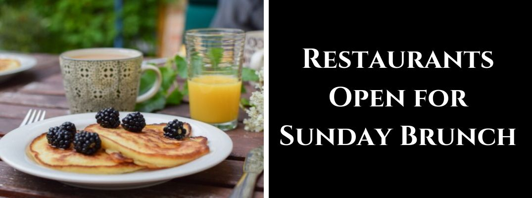 Plate with Pancakes and Blackberries, Orange Juice and Coffee with Black Background and White Restaurants Open for Sunday Brunch Text
