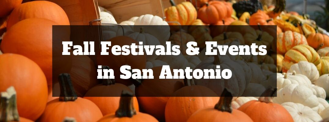 Baskets with Orange, Yellow and White Pumpkins, a Black Text Box and White Fall Festivals and Events in San Antonio Text