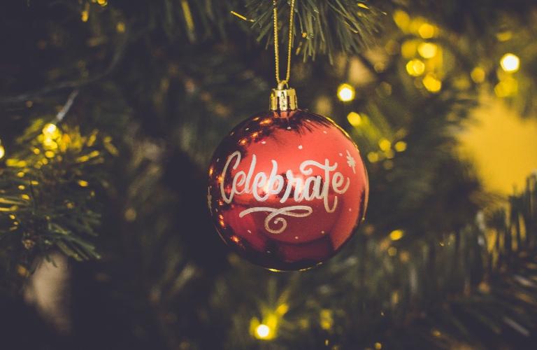 Celebrate written on an ornament