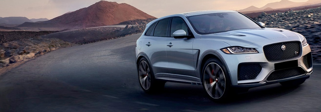 2020 Jaguar F-Pace going down the road