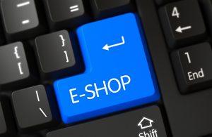 E-Shop on a blue key on the keyboard