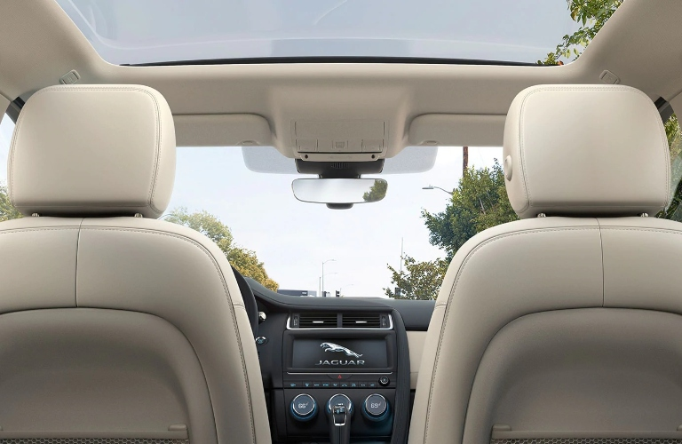 2020 Jaguar E-PACE view of front seats from the back seat