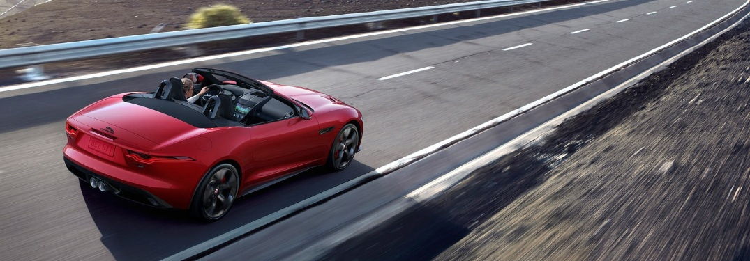 2021 Jaguar F-TYPE convertible cruising down the road