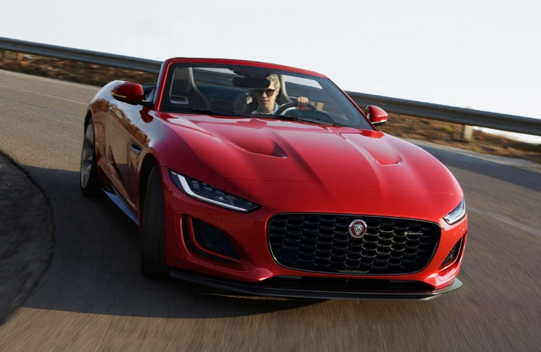 2021 Jaguar F-TYPE convertible going around a corner