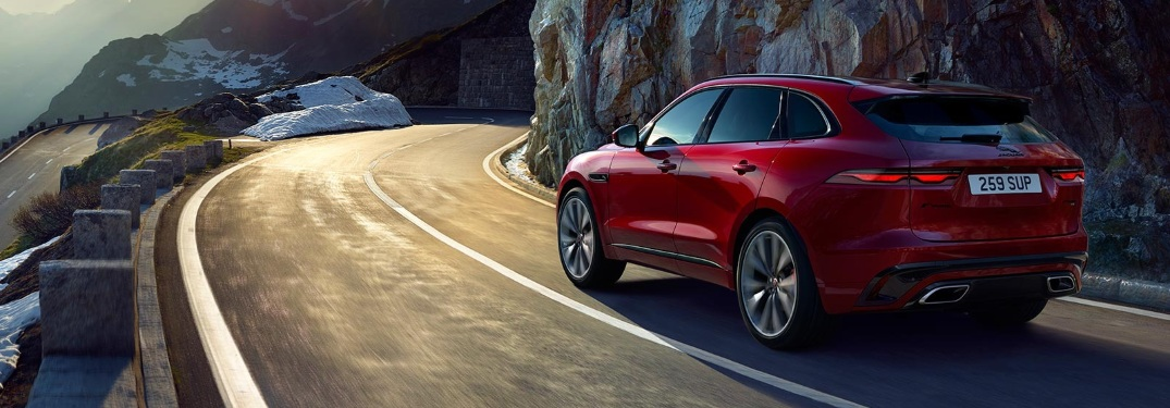 2021 Jaguar F-PACE going around the bend in the road
