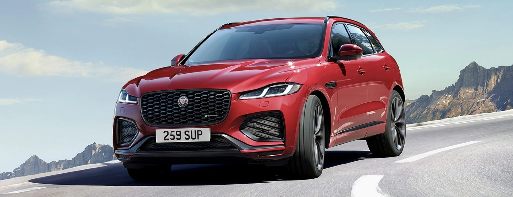 2021 Jaguar F-PACE going down the road