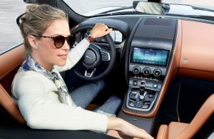 Woman behind the wheel of the 2021 Jaguar F-TYPE