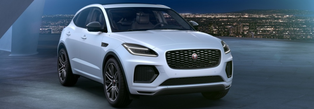 Jaguar E-PACE R-Dynamic Black Edition with city lights in background