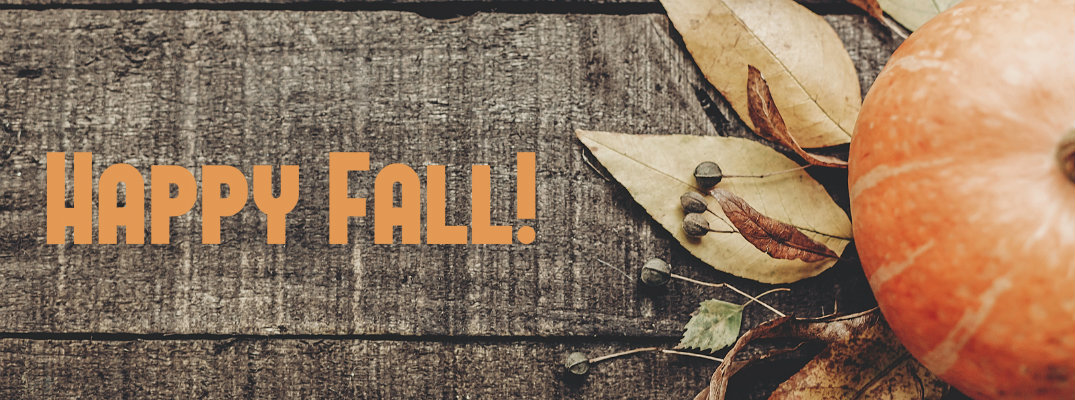 """Stylized image with """"Happy Fall!"""" written"""