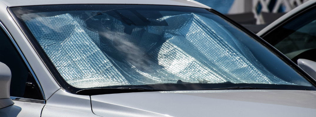 Exterior view of sunshade in vehicle dashboard