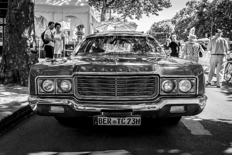 black and white photo of station wagon chrystler