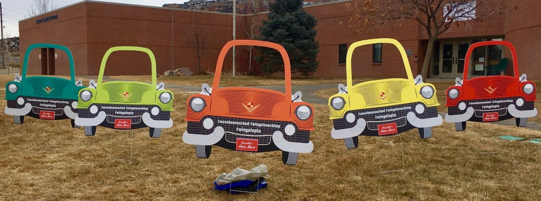 Carville's Auto Mart Sock Hop decorations in front of Wingate Elementary School