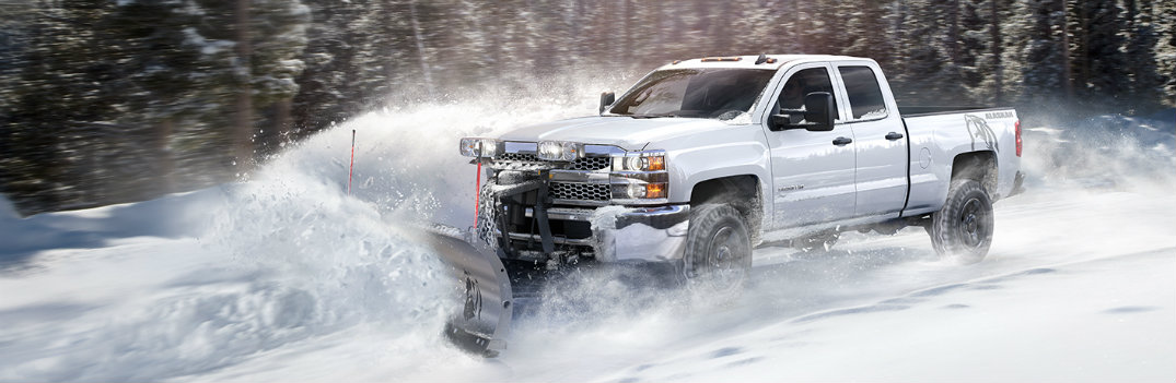 2019 Chevy Silverado 1500 plowing through the snow