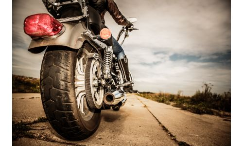 Close up of a motorcycle's rear tire