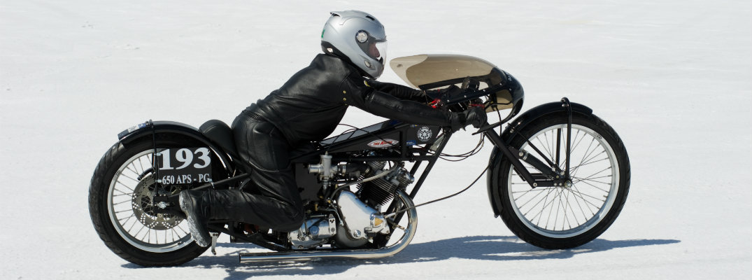 High-speed motorcycle on a salt flat