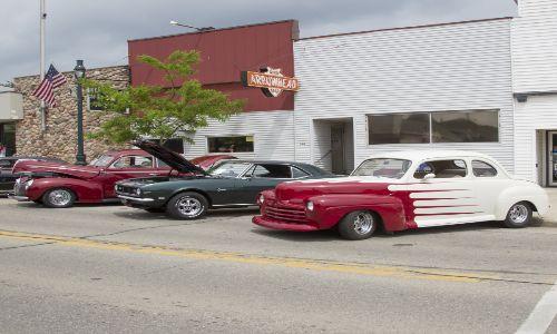 Lineup of vintage cars
