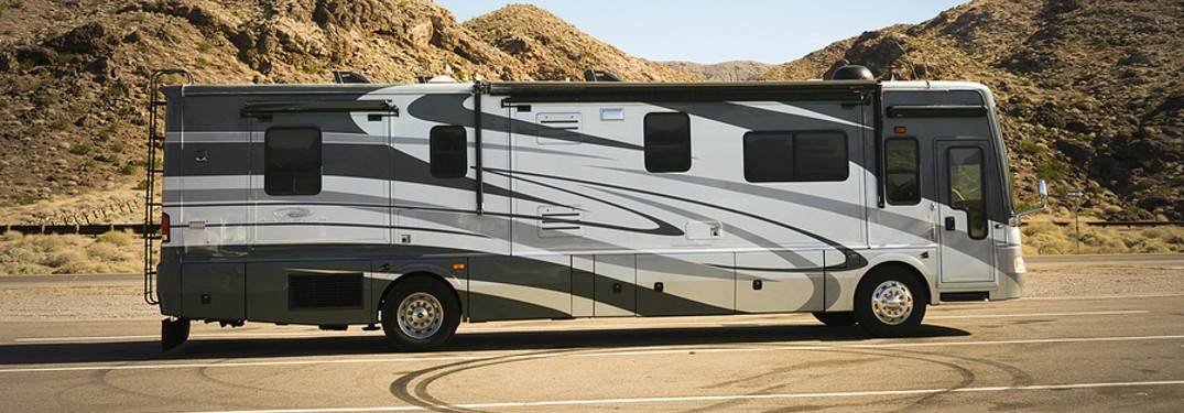 A-Class RV in parking lot