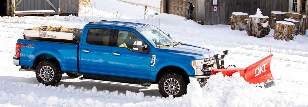 2020 Ford truck plowing snow