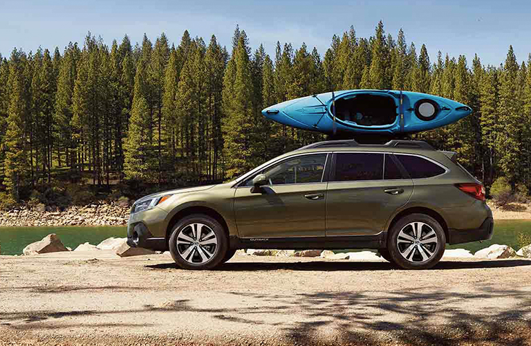 2019 Subaru Outback with kayak on roof