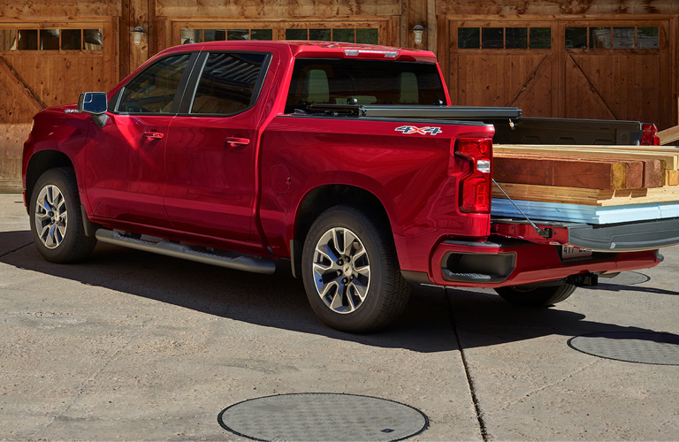2020 Chevy Silverado with wood in bed