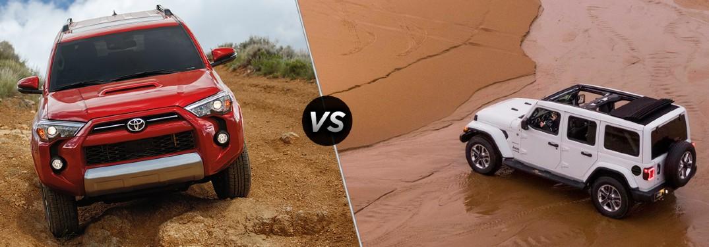 2021 Toyota 4Runner on left vs 2021 Jeep Wrangler on right