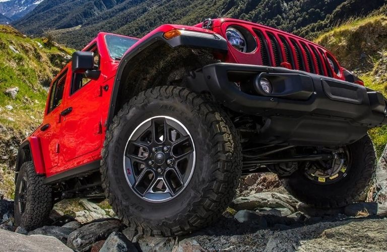 Jeep Wrangler on rocky terrain