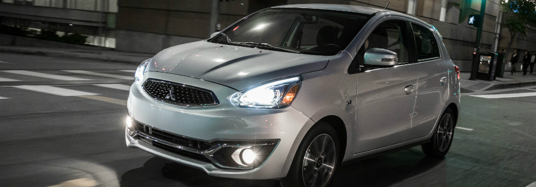 2018 Mitsubishi Mirage GT white at night