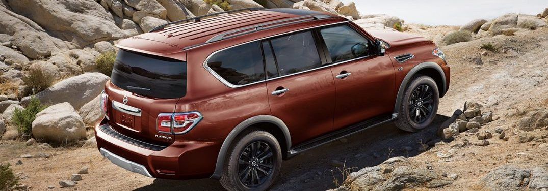 2018 Nissan Armada driving over rough rock terrain