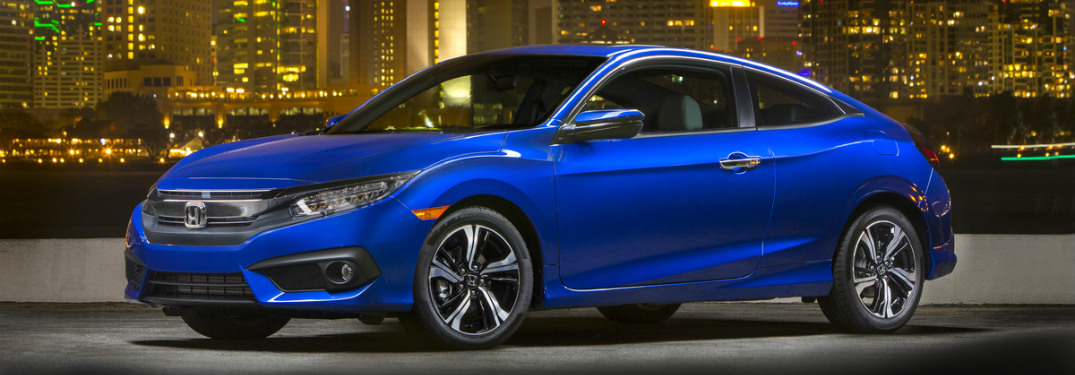 2017 Honda Civic Coupe blue at night side view