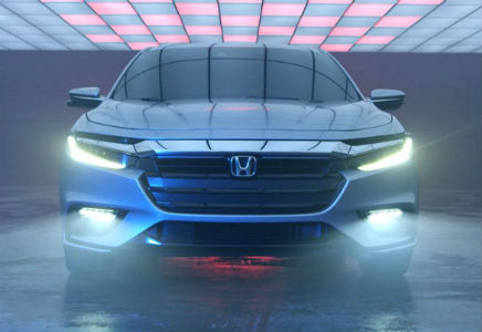 Honda Insight Prototype front fascia design with headlights on